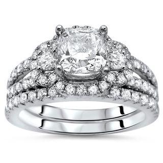 Noori 14k Gold 1 4/5ct Cushion Cut Diamond Enhanced Engagement Ring Bridal Set 14k White Gold