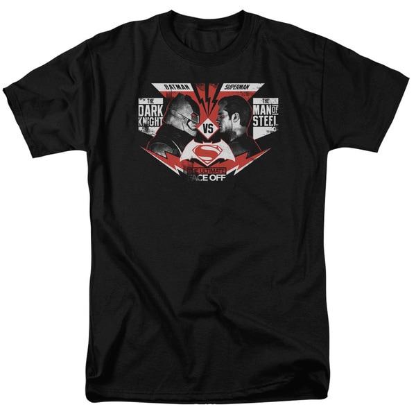 Batman V Superman/Ultimate Face Off Short Sleeve Adult T-Shirt 18/1 in Black