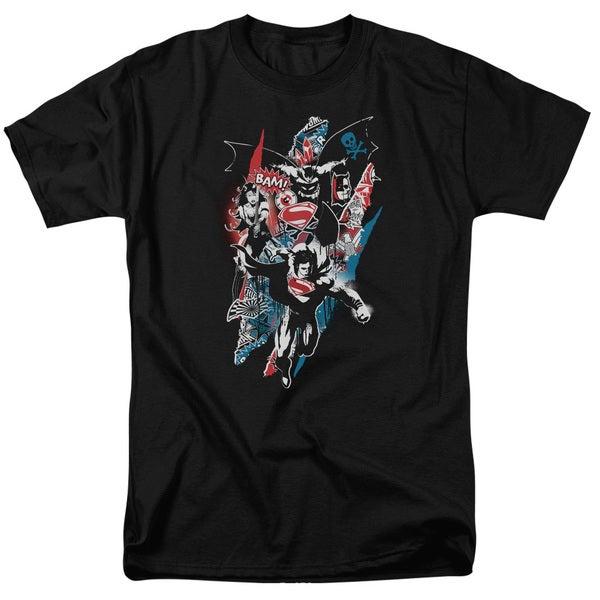 Batman V Superman/Ripped Trio 2 Short Sleeve Adult T-Shirt 18/1 in Black