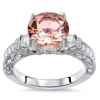 Noori 2 1/10 TGW Round Morganite Diamond 3 Stone Engagement Ring 18k White Gold