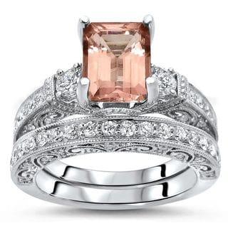 Noori 2 4/5 TGW Emerald Morganite Diamond 3 Stone Engagement Ring Set 18k White Gold