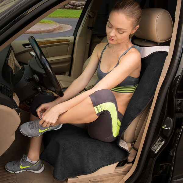OxGord Black/Grey Post-workout Sweat Towel Car Seat Cover for After Yoga, Gym, Swimming, and Beach