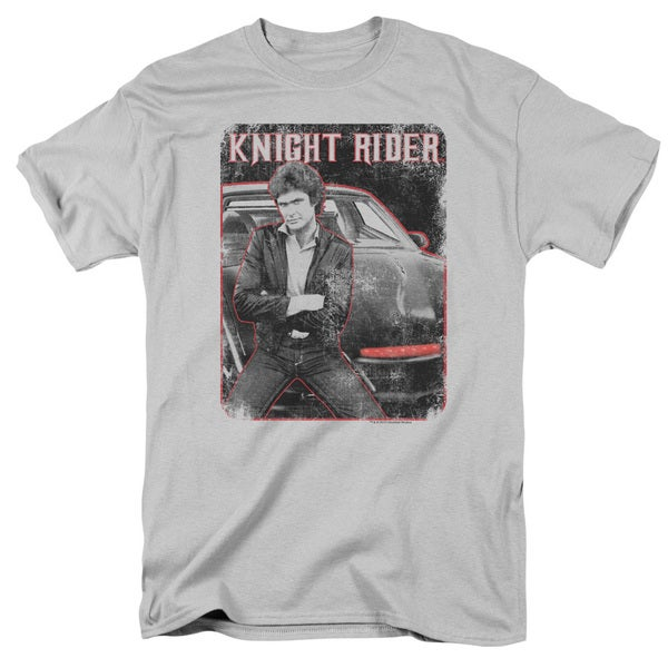 Knight Rider/Knight and Kitt Short Sleeve Adult T-Shirt 18/1 in Silver