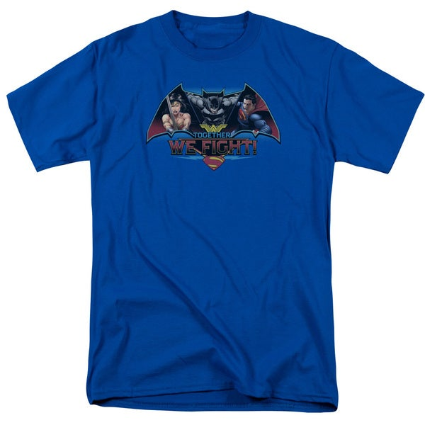 Batman V Superman/Together We Fight Short Sleeve Adult T-Shirt 18/1 in Royal
