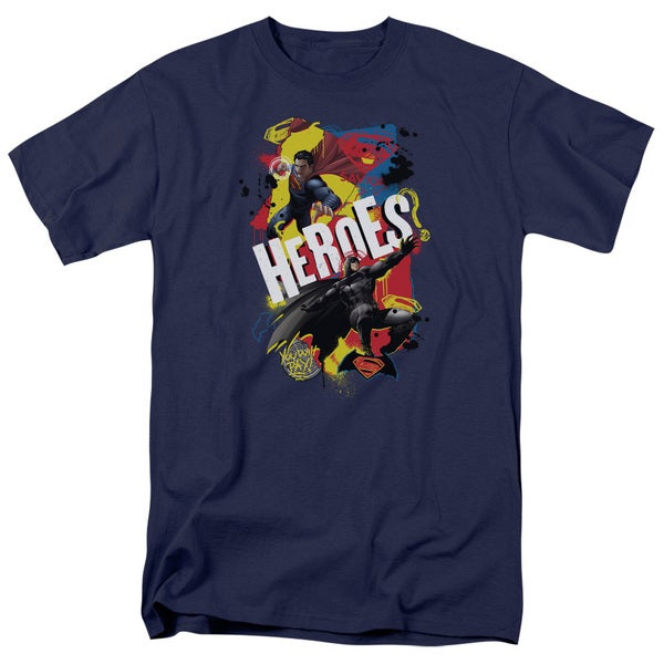 Batman V Superman/Double Hero Short Sleeve Adult T-Shirt 18/1 in Navy