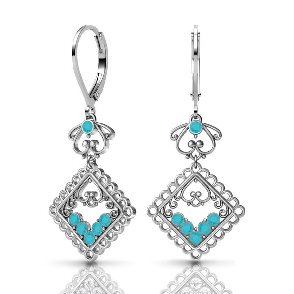 Sterling Silver Earrings by Lucia Costin Swarovski Crystals 20161192