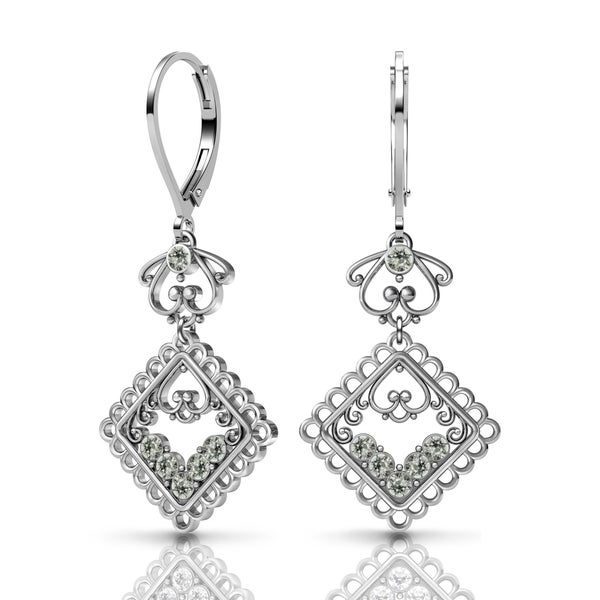 Sterling Silver Earrings by Lucia Costin Swarovski Element Crystals 20161283