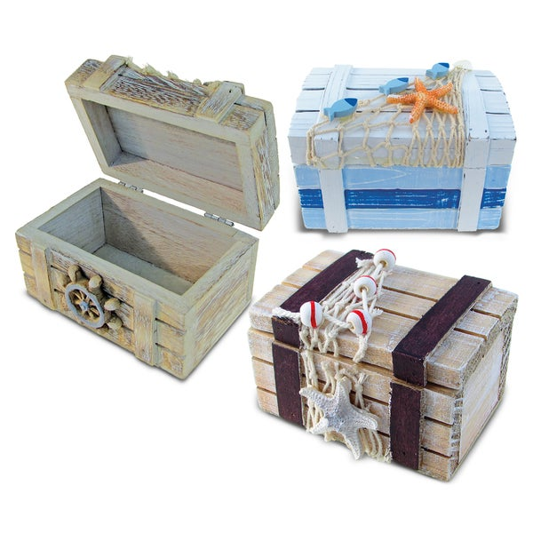 Puzzled Vintage Nautical Treasure Box (Set of 3)