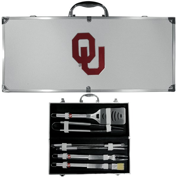 Collegiate Oklahoma Sooners Stainless Steel 8-piece Barbecue Tools Set with Metal Carrying Case