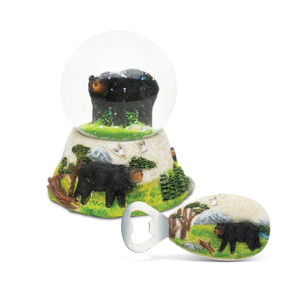 Unique Elegant Gift and Souvenir Black Bear Resin Stone Finish Collection Snow Globe and Magnet Bottle Opener