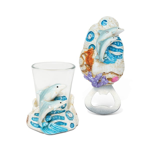 Unique Elegant Gift and Souvenir Dolphin Resin Stone Finish Collection Magnet Bottle Opener and Shot Glass