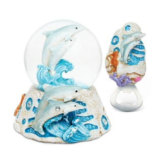Dolphin Resin Stone Finish Collection with Snow Globe and Magnet Bottle Opener