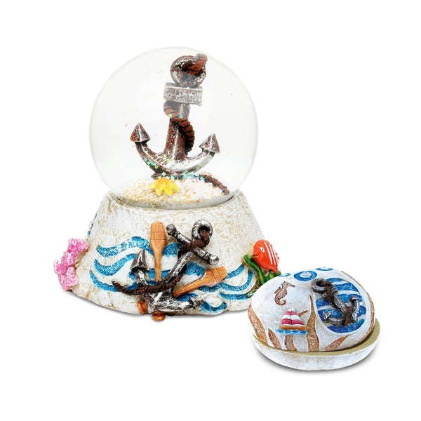 Unique Elegant Gift and Souvenir Anchor Resin Stone Finish Collection Jewelry Box and Snow Globe 20161632