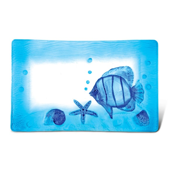 Puzzled Inc Blue Glass 12-inch Rectangle Fish Decor Plate