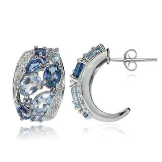 Glitzy Rocks Sterling Silver London Blue, Swiss Blue and White Topaz Cluster Tonal Earrings