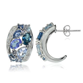 Glitzy Rocks Sterling Silver Tanzanite, Aquamarine, London Blue and White Topaz Cluster Tonal Earrings