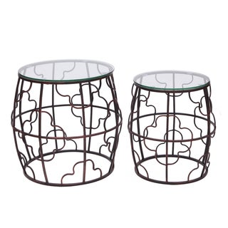 Adeco Classic Ovel Style Nesting Side Table (Set of Two)