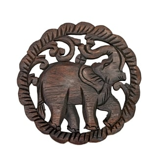 Elephant Hand Carved Teak Wood Relief Panel Wall Art (Thailand)