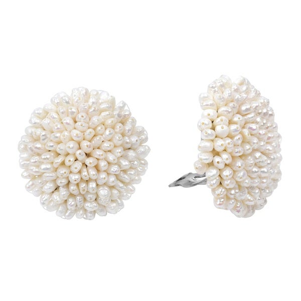 Statement Round Cluster White Pearl Clip On Earrings (Thailand)