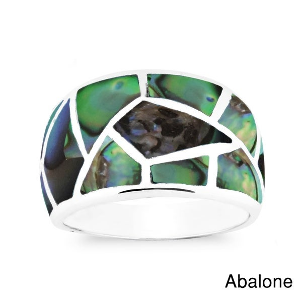 Paving Pavement Pattern Gemstone Inlay Sterling Silver Ring (Thailand)