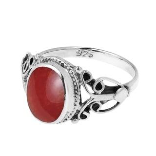 Vintage Swirl Heart Gemstone Center Stone .925 Silver Ring (Thailand)