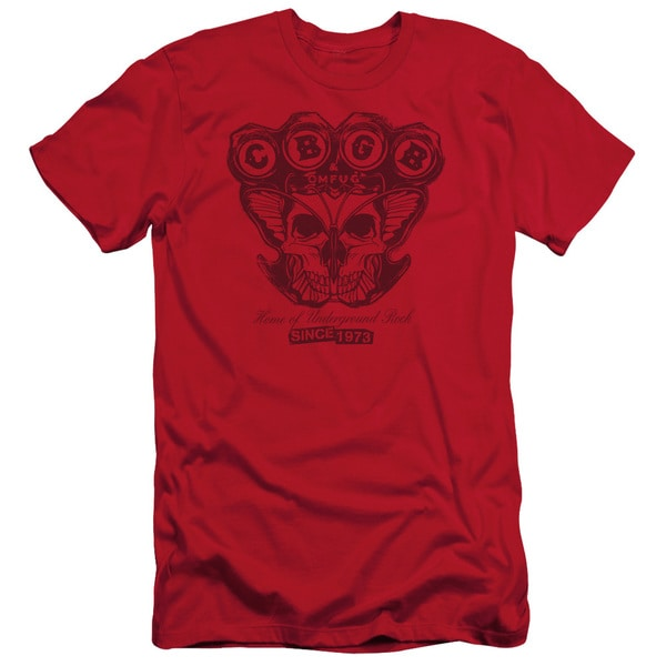 Cbgb/Moth Skull Short Sleeve Adult T-Shirt 30/1 in Red
