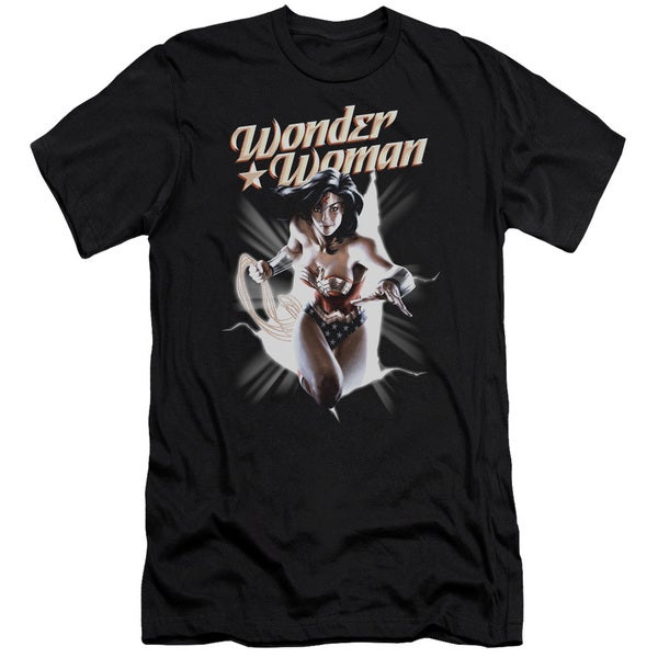 JLA/Ww Break Out Short Sleeve Adult T-Shirt 30/1 in Black