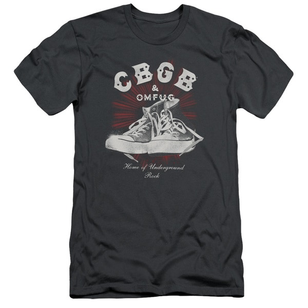 Cbgb/High Tops Short Sleeve Adult T-Shirt 30/1 in Charcoal