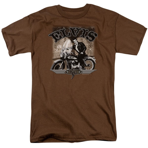 Elvis/Tcb Cycle Short Sleeve Adult T-Shirt 18/1 in Coffee
