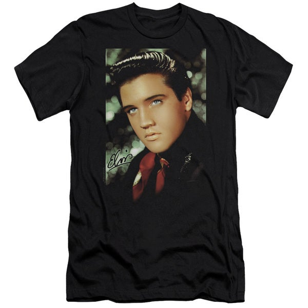 Elvis/Red Scarf Short Sleeve Adult T-Shirt 30/1 in Black