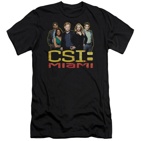 CSI Miami/The Cast in Black Short Sleeve Adult T-Shirt 30/1 in Black