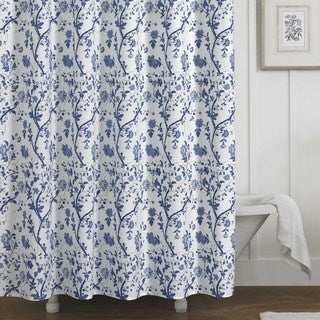Laura Ashley Charlotte Blue/White Floral Cotton Shower Curtain (72 x 72)