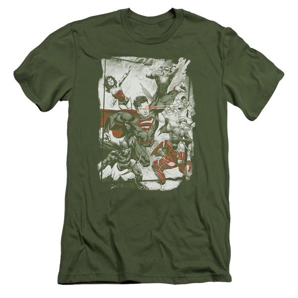 JLA/Green and Red Short Sleeve Adult T-Shirt 30/1 in Military Green