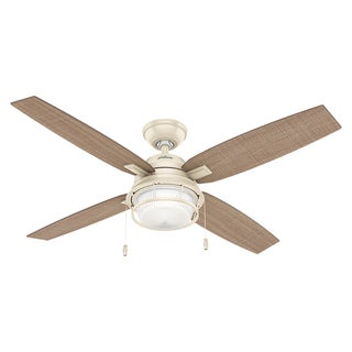 Hunter Ocala Cottage White and 4 Light Striped Walnut Reversible Blades 52-inch Fan