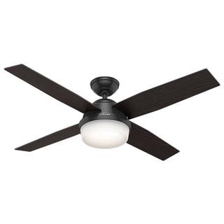 Hunter Fan Dempsey Collection Matte Black Metal and Glass Ceiling Fan with 4 Reversible Blackened Oak/Dark Walnut Blades