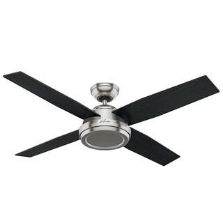 Hunter Fan Dempsey Collection Brushed Nickel 52-inch ceiling Fan with 4 Reversible Black Oak/Chocolate Oak Blades