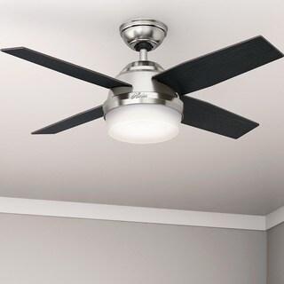 Hunter Fan Dempsey Collection Brushed Nickel 44-inch Ceiling Fan with 4 Reversible Black Oak/Chocolate Oak Blades