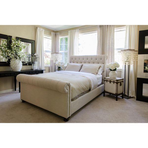 Elements Fine Home Furnishings Tribeca Seashell Beige Linen Roll Bed
