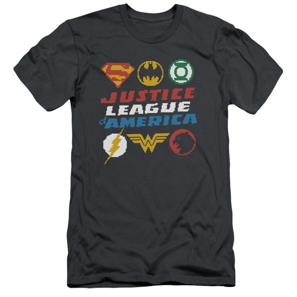 JLA/Pixel Logos Short Sleeve Adult T-Shirt 30/1 in Charcoal