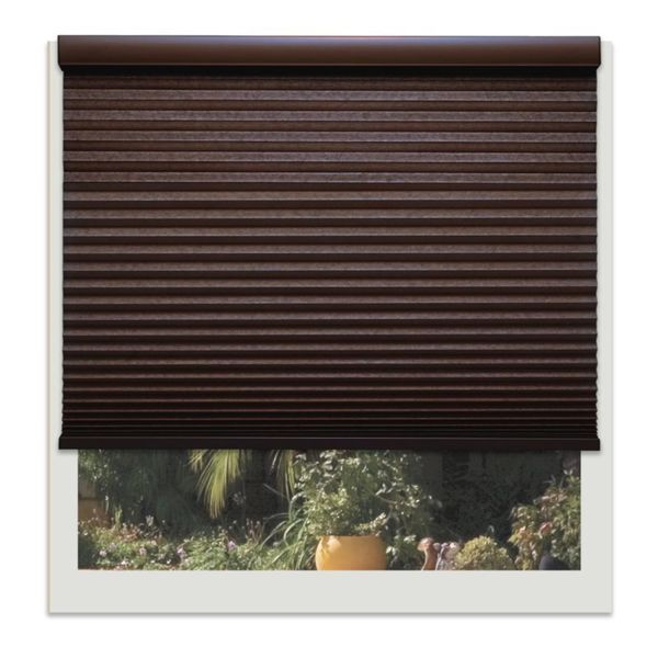 Linen Avenue Custom Cordless Chocolate Brown Polyester Light fIltering Cellular Shade
