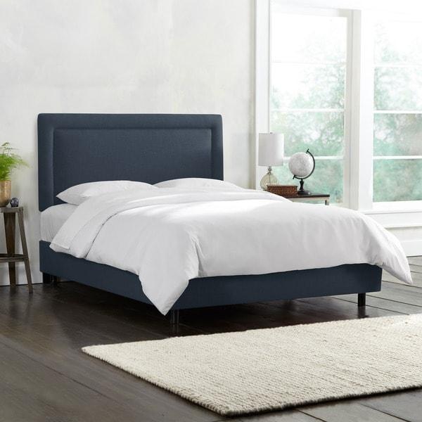 Skyline Furniture Border Bed in Linen Ocean