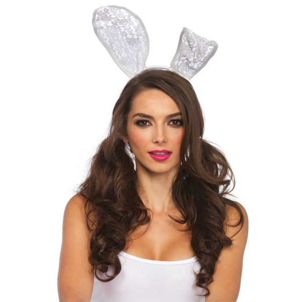 Leg Avenue White Lace Large Bunny Ears Headband