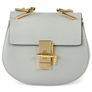 Chloe Drew Crossbody Bag in Light Grey with Gold Hardware size Small