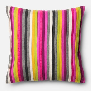 Felted Multi Stripe Applique Down Feather or Polyester Filled 18-inch Throw Pillow or Pillow Cover