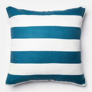 Printed Blue/ Ivory Stripe Feather and Down Filled or Polyester Filled 22-inch Throw Pillow or Pillow Cover