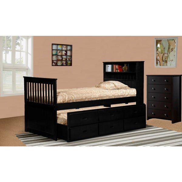 Ava Twin Captain Trundle Bed with Bookshelf and Drawers