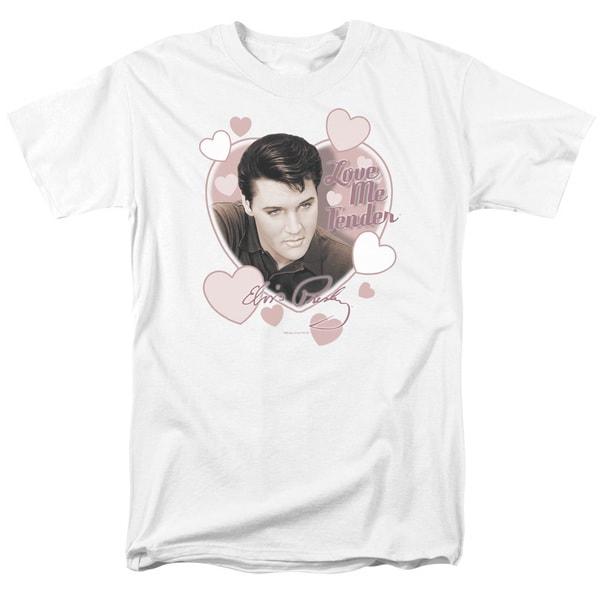Elvis/Love Me Tender Short Sleeve Adult T-Shirt 18/1 in White