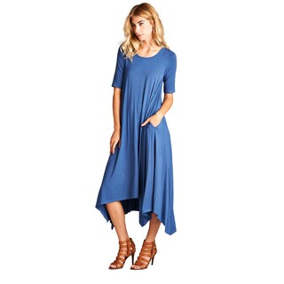 Spicy Mix Isla Rayon Short Sleeve Hi/Lo Hem Tunic Maxi Dress with Front Pockets