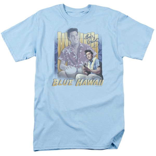 Elvis/Blue Hawaii Short Sleeve Adult T-Shirt 18/1 in Carolina Blue
