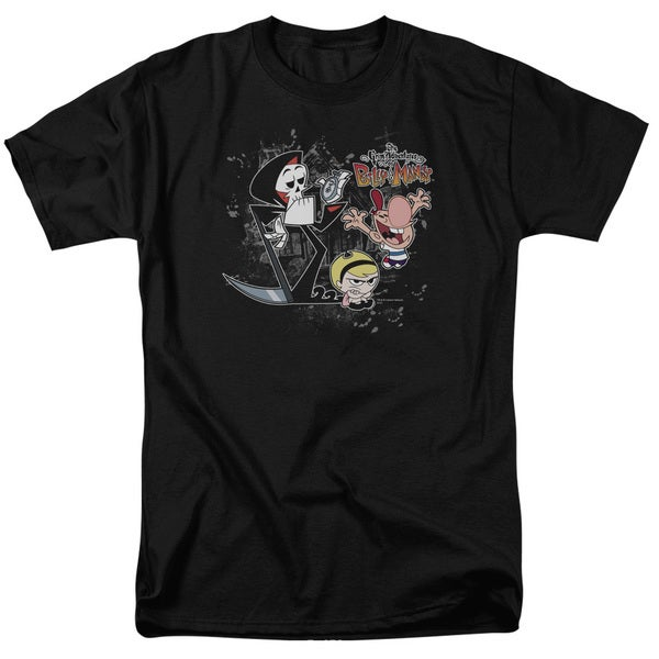 Billy & Mandy/Splatter Cast Short Sleeve Adult T-Shirt 18/1 in Black
